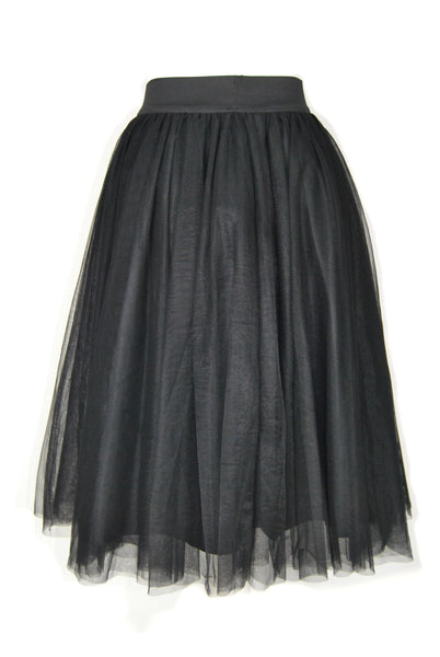 Layered Black Tulle Skirt - Midi Closet
