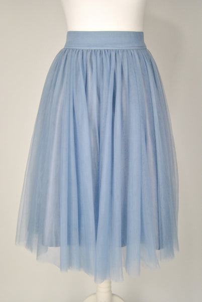 Layered Light Blue and Grey Tulle Skirt - Midi Closet