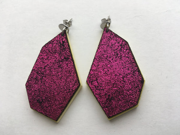 Mia - Magenta and Custard Leather Polygon