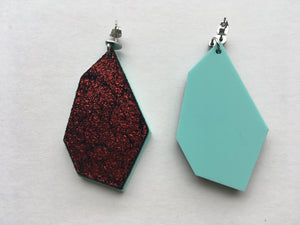Cleo - Crimson and Mint Leather Polygon