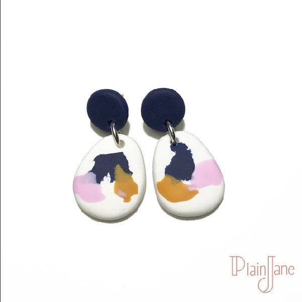 Caro - Navy and White Dangles