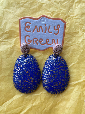 Blush and Cobalt Terrazzo Drop Earrings