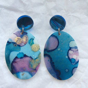 Blue and Purple Oval Dangles