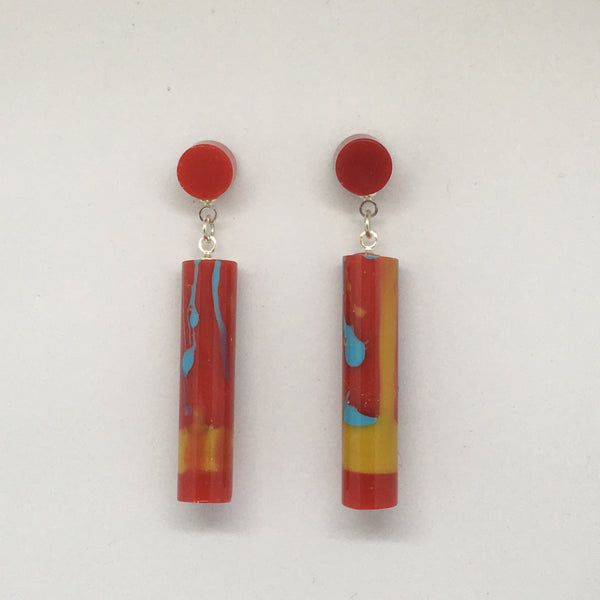 Red Multi - Baby Tube Drop Earrings
