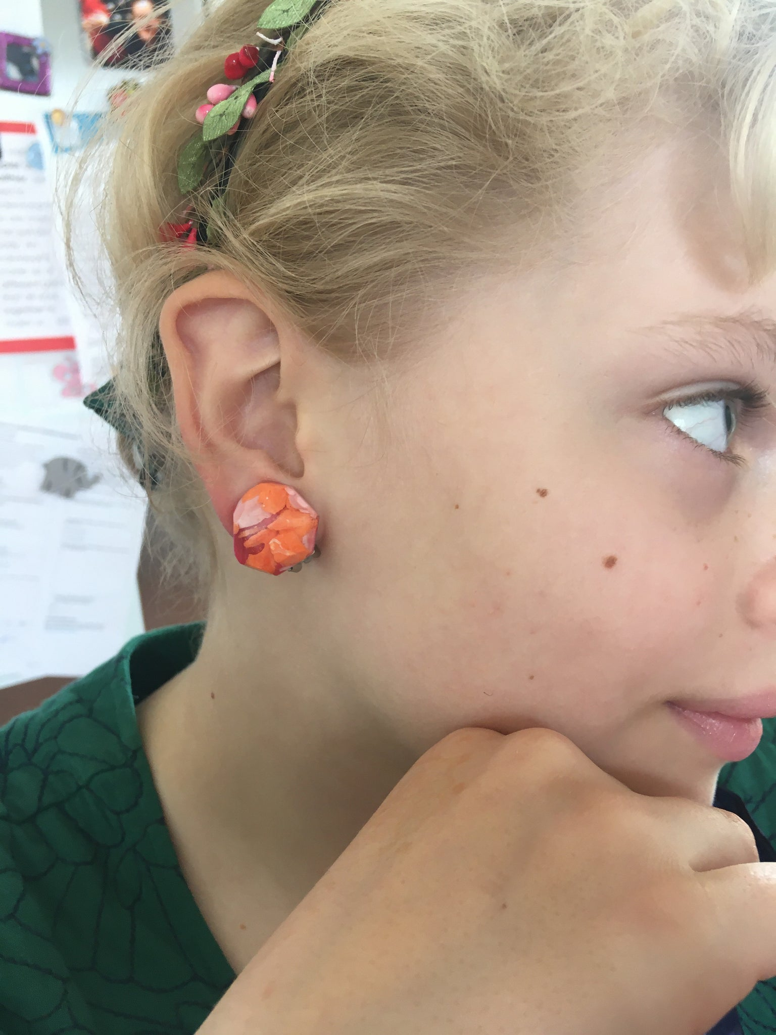 Clip ons - Orange/Pink Rounded Nugget Studs