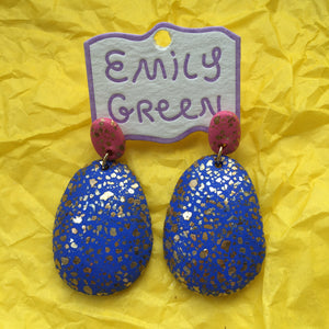 Lipstick/Periwinkle Terrazzo Drop Earrings