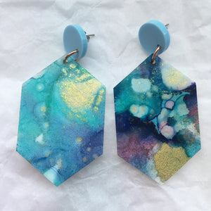 Earthy blue and green Hexagon Dangles