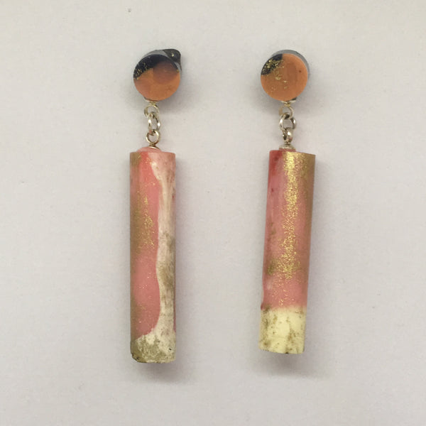 Metallic Pink - Baby Tube Drop Earrings
