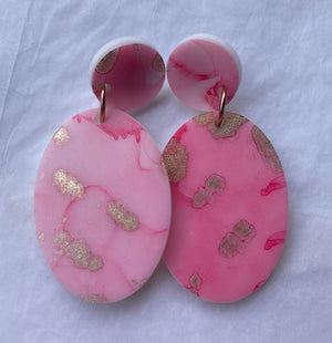 Pink and Gold Oval Dangles