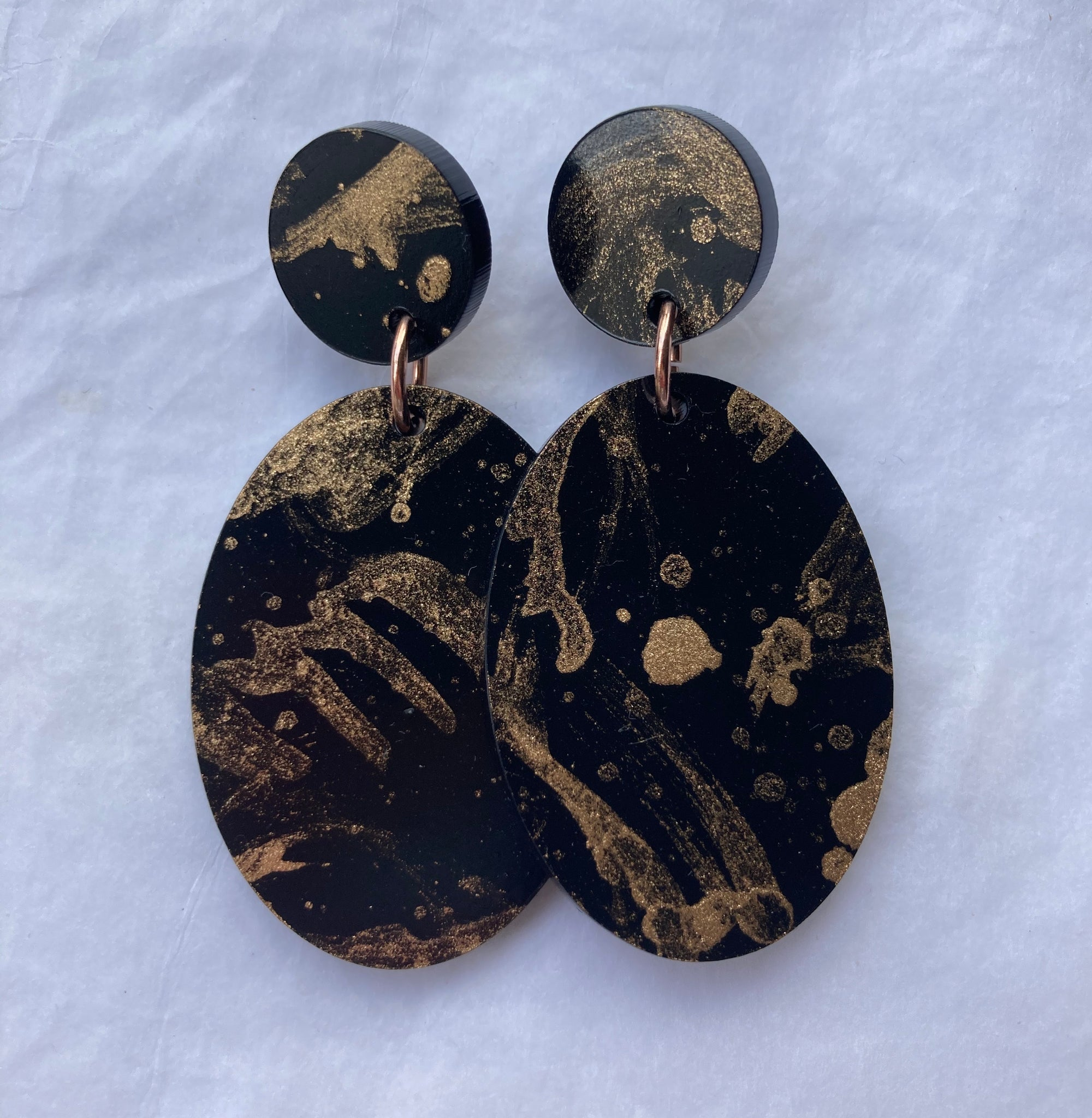 Black and Gold Oval Dangles