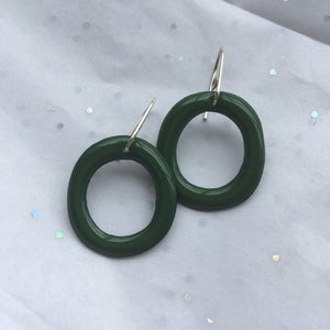 Dark Green Enamel Hoops