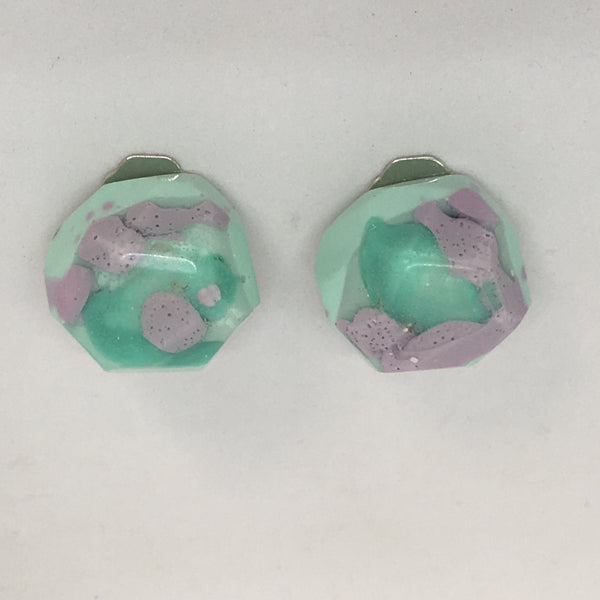 Clip ons - Blue/Purple Rounded Nugget Studs