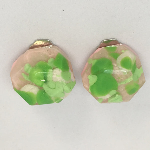 Clip ons - Bright Green Rounded Nugget Studs
