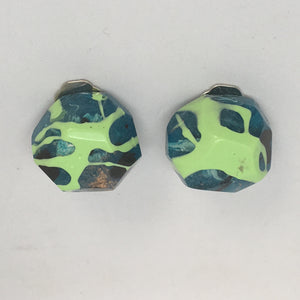 Clip ons - Blue/Green Rounded Nugget Studs