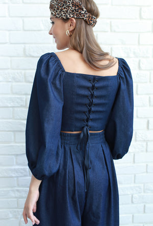 Denim lace-up bustier top