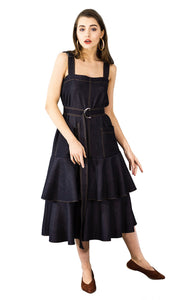 Ruffled midi black denim dress