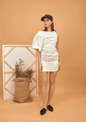 One sleeve ruched poplin mini dress