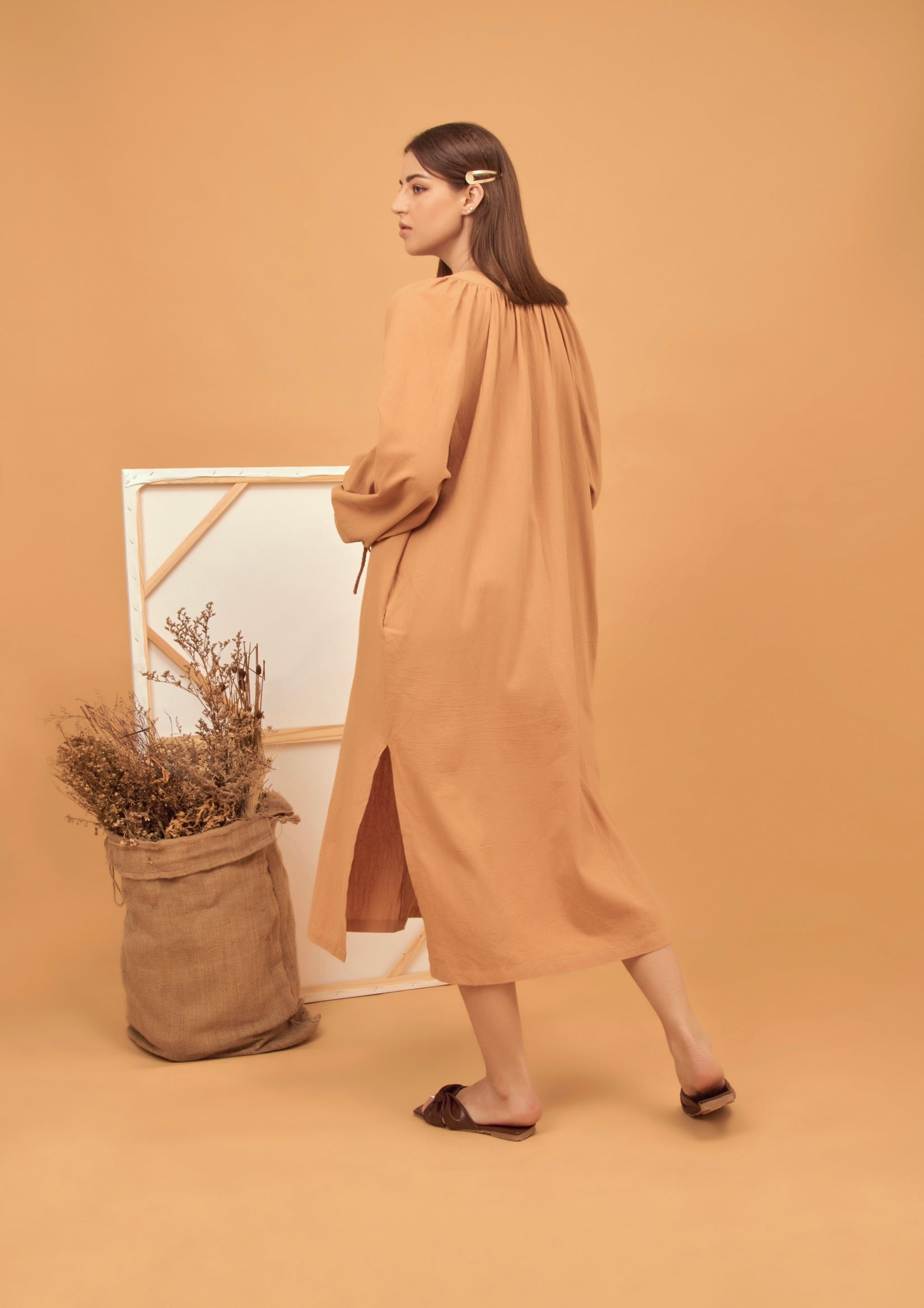 Tie-Front cotton midi dress in mustard