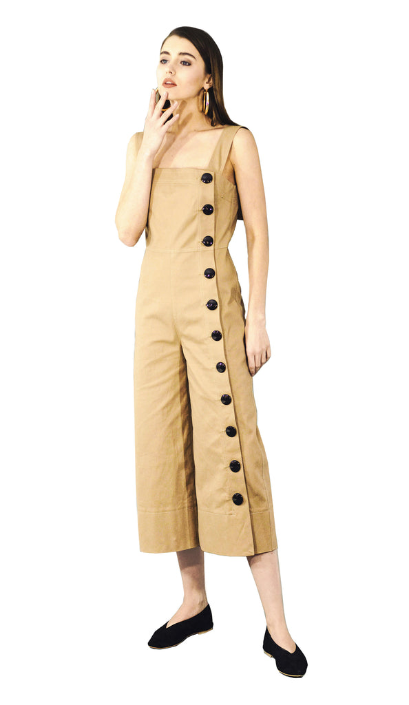 Button-detailed beige gabardine jumpsuit
