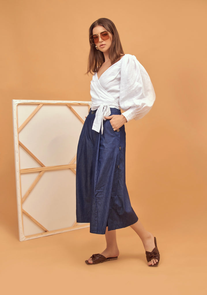 Button-detailed cropped denim culottes