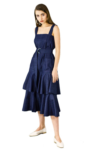 Ruffled midi dark blue denim dress