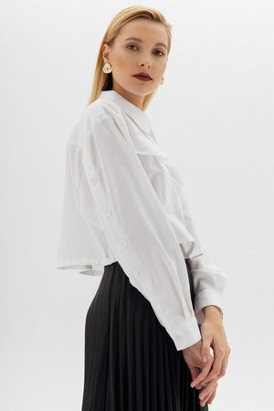 Cropped Utility White Shirt