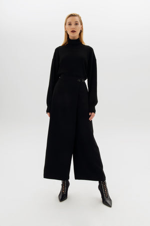 Crossover Wide-Leg Pants