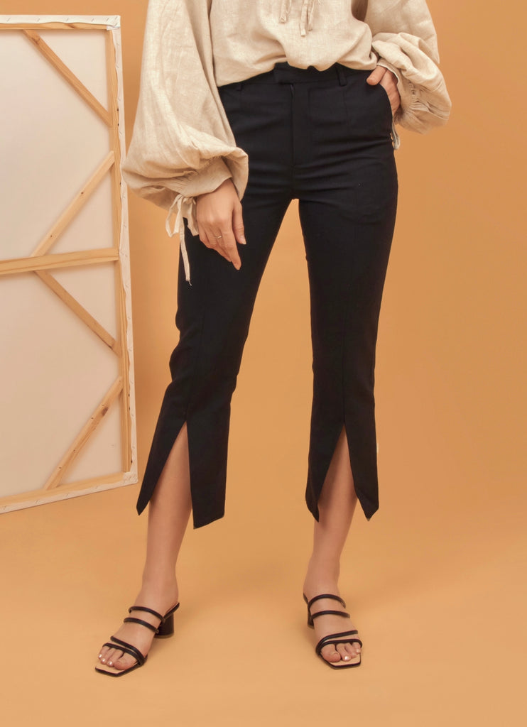Cropped slit hem pants