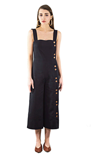 Button-detailed black denim jumpsuit