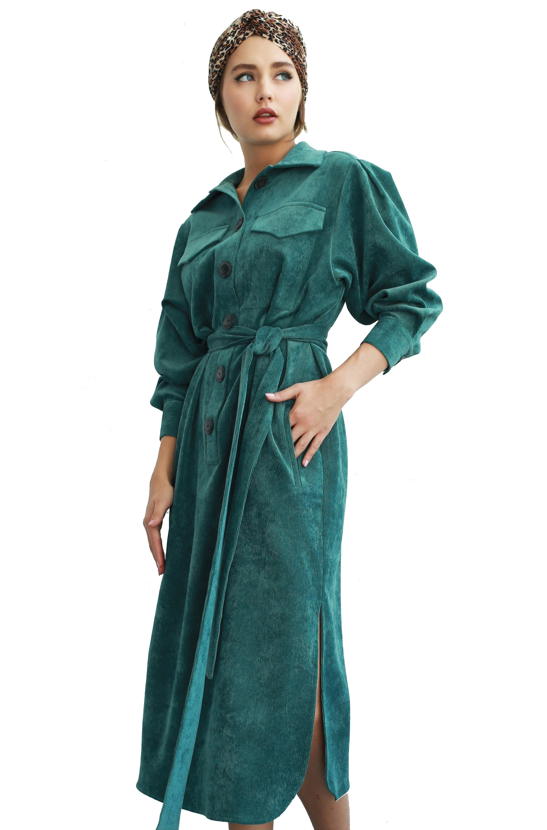 Belted corduroy shirt dress