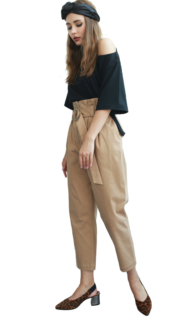 Tan high-waisted pleated pants