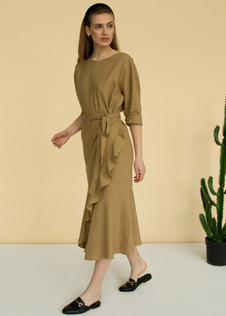 Ruffle midi linen dress