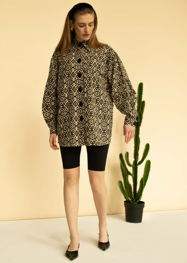 Oversized printed linen shirt