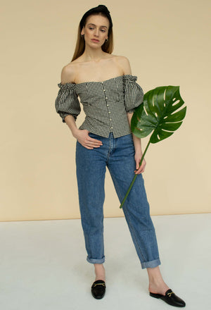 Off the shoulder checked cotton top