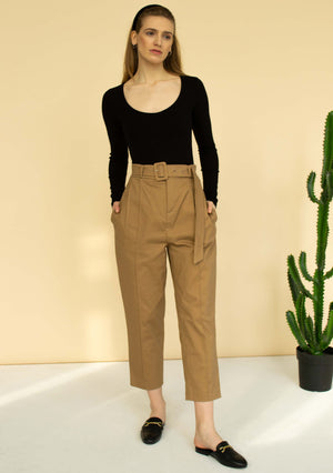 Belted gabardine tapered pants