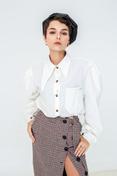 LAGEMMA Puff Sleeves shirt in Ivory