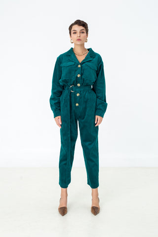 Belted corduroy utility jumpsuit