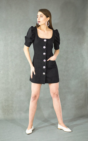 Button-detailed black mini denim dress
