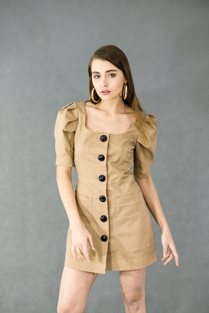 Button-detailed beige mini dress
