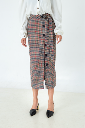 Houndstooth print Button midi skirt