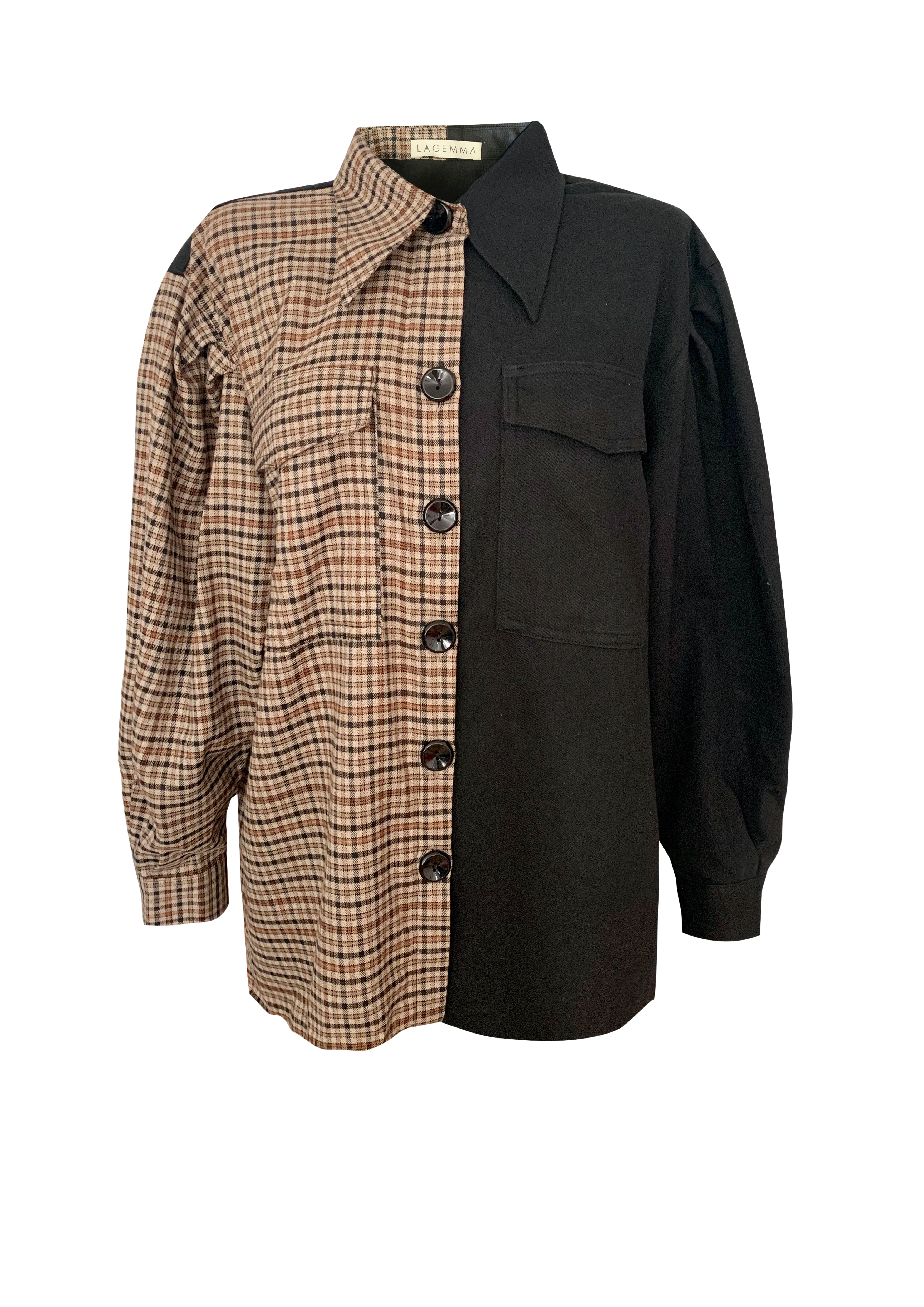 Two tone Checked-Black OverShirt