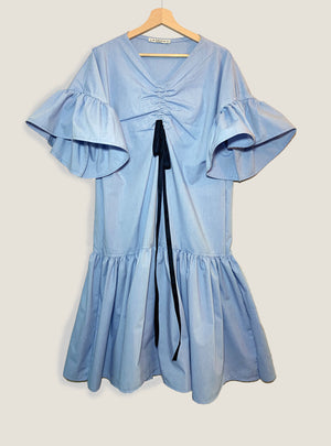 Ruffled Cotton-Poplin midi dress