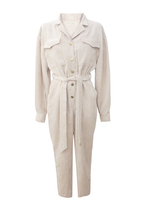 Belted Corduroy Utility Jumpsuit in Ecru