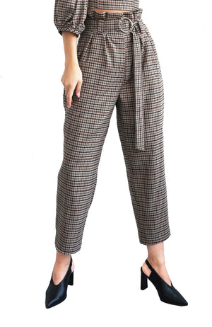 Plaid wool high-waisted pants