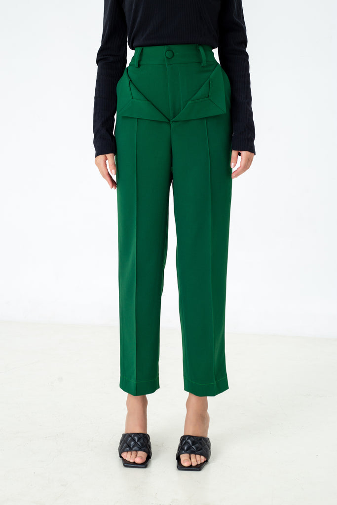 Layered Pants in green Emerald