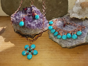 Turquoise and Copper Jewelry Set