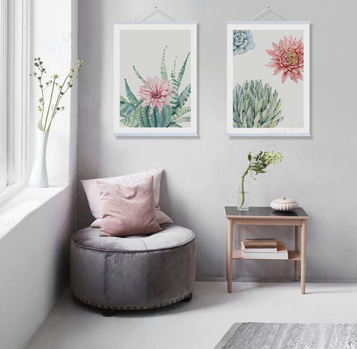 Mill MaisonMill Maison WINTON WATERCOLOR SUCCULENT CACTUS FLOWER CANVAS POSTER PRINT WALL ART - Home Decor WINTON WATERCOLOR SUCCULENT CACTUS FLOWER CANVAS POSTER PRINT WALL ART - Home Styling Ideas