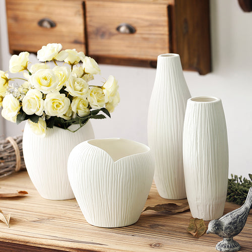 Mill MaisonMill Maison MARNIE ELEGANT WHITE VINTAGE FARMHOUSE TEXTURED CERAMIC PORCELAIN FLOWER PLANT VASE - Home Decor MARNIE ELEGANT WHITE VINTAGE FARMHOUSE TEXTURED CERAMIC PORCELAIN FLOWER PLANT VASE - Home Styling Ideas