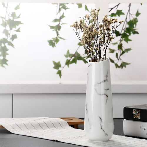 Mill MaisonMill Maison GALIA WHITE MARBLE HIGH GLOSS DECORATIVE CERAMIC FLOWER VASE - Home Decor GALIA WHITE MARBLE HIGH GLOSS DECORATIVE CERAMIC FLOWER VASE - Home Styling Ideas