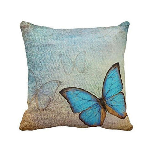 Mill MaisonMill Maison BLUE BUTTERFLY RUSTIC LINEN DECORATIVE CUSHION COVER - Home Decor BLUE BUTTERFLY RUSTIC LINEN DECORATIVE CUSHION COVER - Home Styling Ideas